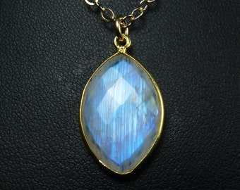 Faceted Rainbow Moonstone Necklace, Faceted Natural Rainbow Moonstone Pendant, Sparkling Bright Sky Blue Fire, Gold Bezel and Chain