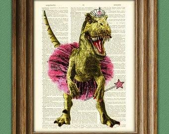 """T-Rex in Ballerina outfit """"Big Tina's first recital"""" Pink Tiara Dinosaur art print beautifully upcycled dictionary page book art print"""