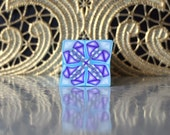Polymer Clay Kaleidoscope Cane Turquoise, Purple, White No. 1067