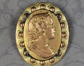 Victorian Embossed Golden Brass Oval Right Facing Cameo Brooch