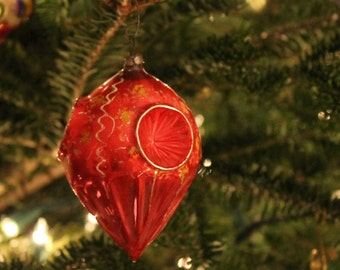 Vintage Red and Gold German Glass Christmas Ornament