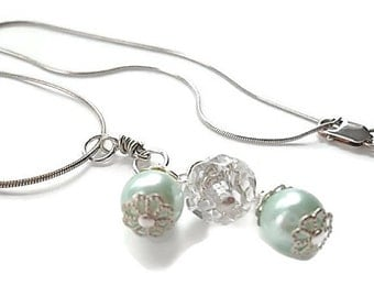 Wedding/Bridal Necklace/Pearl/Crystal/Sterling Silver/Mint Green Necklace