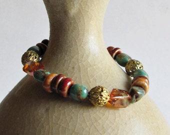 Earth Tone Beaded Bracelet - Turquoise and Ceramic Bead Bracelet - Autumn Colors Bracelet - Wholesale Jewelry