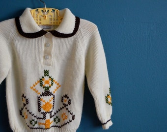 Vintage Children's 1960s 1970s Embroidered Sweater - Size 3T 4T