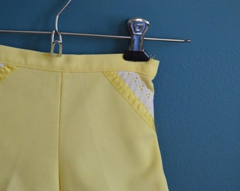 Vintage Toddler Girl's Yellow Shorts with Lace Trim - Size 18-24 Months