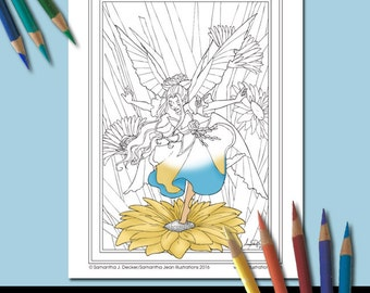 Fairy Coloring Page, Fantasy, Flower Coloring Pages, Adult Coloring Pages, Printable Coloring Pages, Coloring Pages to Print