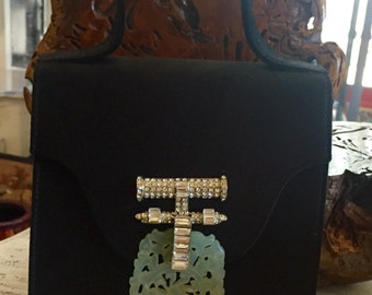 Stunning Black Silk Designer Oscar de la Renta Carved Jade Diamante Rhinestone Vintage Evening Bag