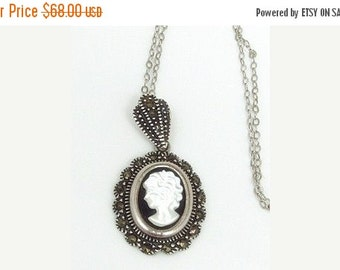 Valentines Lovers SALE Sterling Silver Carved White and Black Glass Cameo Marcasite  Vintage Necklace Vintage Jewelry