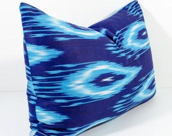 20x14, blue indigo cotton ikat lumbar pillow cover ikat pillows, ikats, blue pillow, blue ikats, blue ikat pillows, ikat design,  uzbek ikat