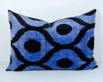 Luxury 20x14, blue black ikat, blue ikat, blue velvet ikat, velvet ikat pillows velvet ikat, lumbar ikat, velvet pillow, long pillows