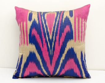 14x14 magenta blue cream ikat pillow cover, cushion case, ikat, magenta ikat pillow cover, handmade ikat, magenta , blue, cream