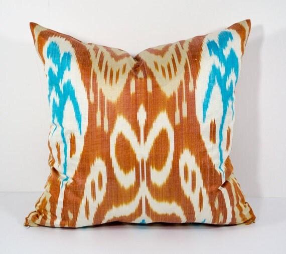 15x15 Throw Pillow Cover : 15x15 brown blue cream ikat pillow cover brown pillows blue