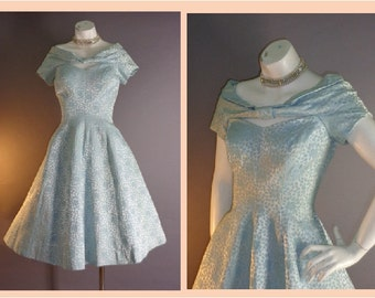 50s dress 1950s vintage AQUA BLUE SATIN brocade full skirt party wedding cocktail prom dress xs