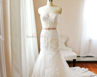 Lace Wedding Dress, Bridal Gowns and Separates, Bridal Gown, French Lace Bridal Dress, Strapless Dress, Sweetheart Neckline, SARRAH Dress