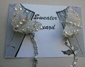 Sweater Clip  Plastic Butterflies With Iridescent Rhinestones