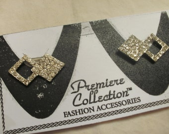 Shoe Clips   Rhinestones Set In Double Triangles Metal Silver Tone FREE SHIPPING