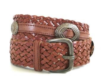 Vintage Brown Leather Concho Belt