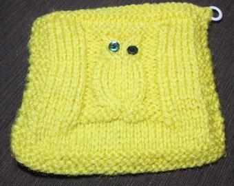 Darling yellow Owl Crocheted Pot Holder