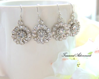 Bridal Earrings, Vintage Style Rhinestone Petal Flower Dangle Earrings, Bridesmaids earrings, Hollywood Glam, Birthday gift, Wedding party