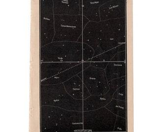 1884 horizon at midnight original antique celestial astronomy print - plate IX - showing stars & constellation hydra virgo leo canes ursa