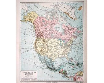 1889 ANTIQUE MAP USA of North America original antique lithograph print