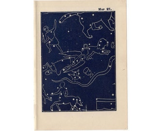 1948 PLOUGH QUARTER spring CONSTELLATION stars lithograph - mini constellation map - original vintage print - celestial astronomy - no 27