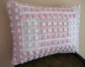 """Vintage Chenille Pillow -Morgan Jones Rosebud Sampler - Removable Insert Included - 14.5"""" x 12.5"""""""
