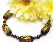 SALE Amber Garden Lampwork Bracelet - Tan Glass Bracelet - Brass Bracelet - Vintage Style Bracelet - Handmade Bracelet