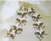 SALE Long White and Gold Earrings - Metal Earrings - Dangle Earrings - White Vintage Style Earrings - Retro Design Earrings - Womens Earring