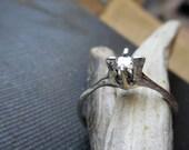 Galadriel Lady of The Wood .20CT Diamond Solitaire Engagement Ring. 14K White Gold Palladium. Rustic Ivy Vines Woodland Nature Elvish