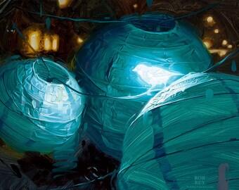 Bioluminescence IV - Print of original oil painting