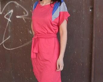 ON SALE 50% off ! Color block Pink mini dress, shoulder applique, short sleeve mini dress with belt