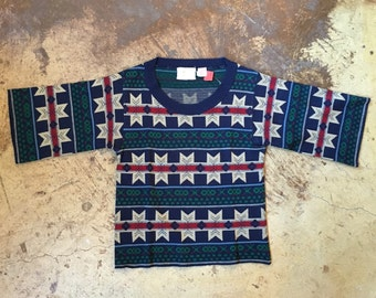 1970s Bell Sleeve Snowflake Sweater