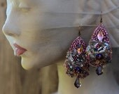 Notre Dame earrings -long bold lace earrings, embroidered