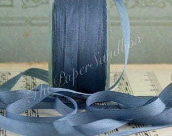 "Dusty Blue Silk Ribbon, Pantone Serenity Blue Silk Ribbon, 1/4"" wide by the yard, Slate Blue Silk, Dusty Blue Silk Trim, Blue Grey Silk"