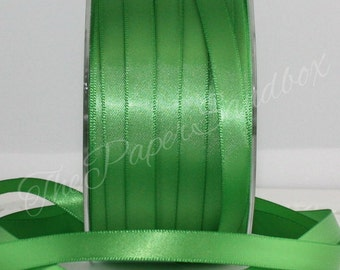 "Greenery Satin Ribbon, Pantone 2017 Greenery,  3/8"" wide by the yard, Green Satin Ribbon, Green Ribbon,  Bouquets, Boutonierres, Weddings"
