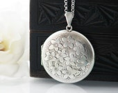 English Sterling Silver Vintage Locket Large Engraved Round Locket | Forget-Me-Not Flowers | 1975 Hallmarked Silver - 34 Inch Long Chain
