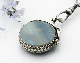 Victorian Sterling Silver Fob | Antique Montrose Banded Agate & Carnelian Pendant, Fob Clip | Blue Grey Agate - 34 Inch Long Chain Included