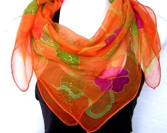 "Hand Painted Silk Scarf, Orange Green Pink, 35"" Square Floral Silk Chiffon Scarf, Gift For Her"