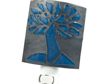 Night Light, Modern Metallic Gray, Blue Tree, Stained Glass Shade, Modern Decor