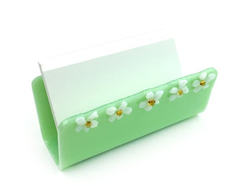 Feminine Business Card Holder, Display Stand, Green with White Daisies, Slanted, Desk Accessory