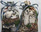 "Gray 3""X2"" Sachet-'Honey Pear Cider' Fragrance-Owl Unisex Novelty Sachet-Cotton Fabric Herbal/Botanical Sachet-Cindy's Loft-571"