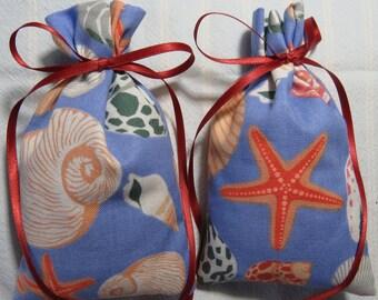 "Seashell 5""X2.5"" Sachet-'Summer Rain' Fragrance-Rust Ribbon-Cotton Fabric Herbal/Botanical Sachet-Cindy's Loft-209"