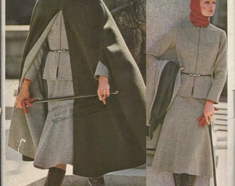 1970's Vogue Americana Pattern No. 1160 by Anne Klein Semi-fitted Jacket , Pants , Turtle Neck Top with Cape  Bust 32.5