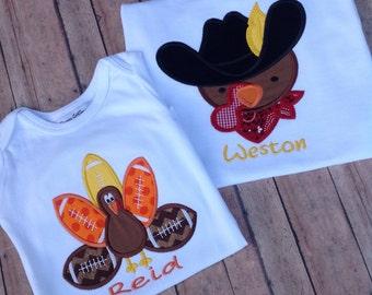Sibling Shirts,Boys Thanksgiving Shirt,Baby Boy Thanksgiving,Baby First Thanksgiving,Cowboy Turkey Appliqué Shirt,Western Turkey Shirt