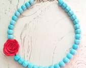 Turquoise Red Necklace Frida Rose by MinouBazaar