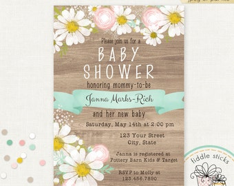 Printable Daisy Invitation, Wood Look, 4 x 6 or 5 x 7, Baby Shower, Bridal Shower, Wedding, Customized w/ Your Wording, JPEG or PDF File