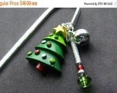 BACK to SCHOOL SALE Beaded Book Charm, Christmas Tree Bookmark in Silver. Handmade.