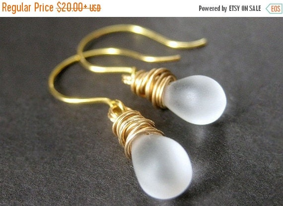 BACK to SCHOOL SALE Frosted Glass, Teardrop Earrings, Gold Wire Wrapped. Handmade Jewelry by Gilliauna