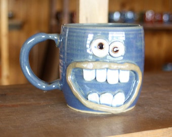 Huge Smile Happy Morning Coffee Mug. Blue Stoneware Pottery Mug. Unique Cool Coffee Cups. Handmade. 20 Ounces. Unique Gift. One of a Kind.